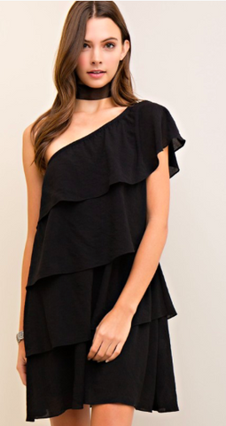 Cantina Chica Ruffled One Shoulder Black Dress
