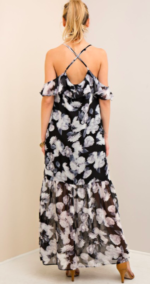 Moonlight Stroll B&W Floral Maxi Dress