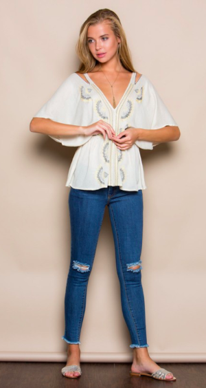 Summer Wind Embroidered Short Sleeve Top (more colors)