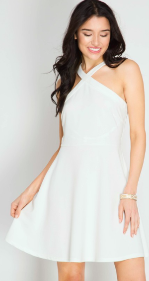 Criss Cross Halter Fit n Flare White Dress