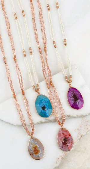 Agate Stone Seed Bead Necklace