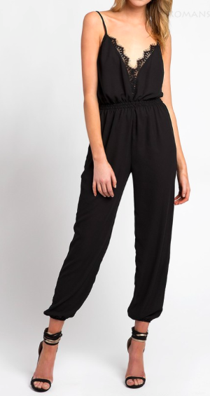 Jump On It Lace Trim Black Jumpsuit