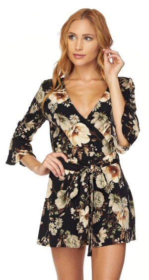 Long Sleeve Floral Romper (more colors)