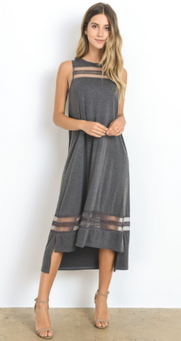 Sheerly Chic Grey Hi-Lo Knit Dress