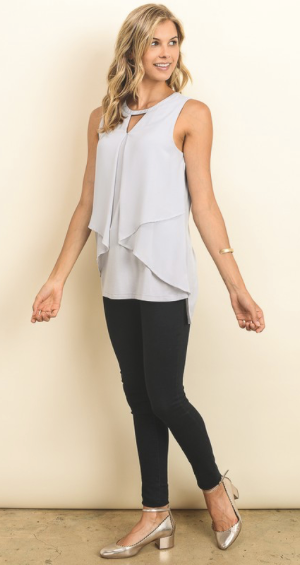 Fancy Flair Silver Grey Sleeveless Top
