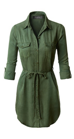 Olive Green Long Sleeve Shirt Dress