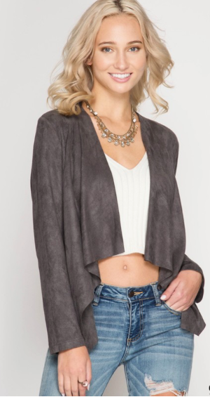 Suede Open Cardigan Jacket (more colors)
