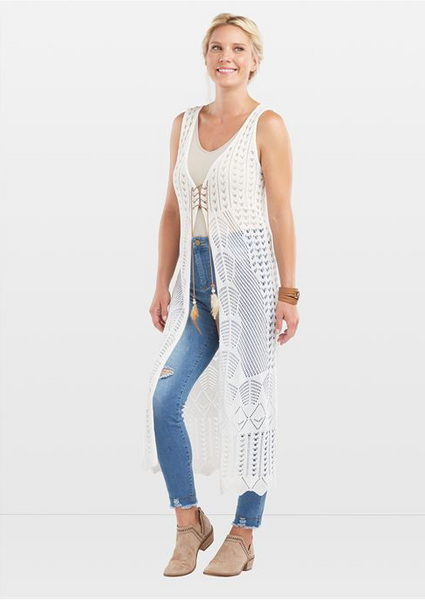 C+C Long Pointelle White Knit Vest