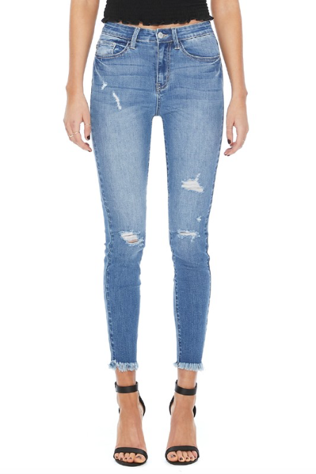 Destroyed Hem Fray Light Wash High Rise Skinny Jeans