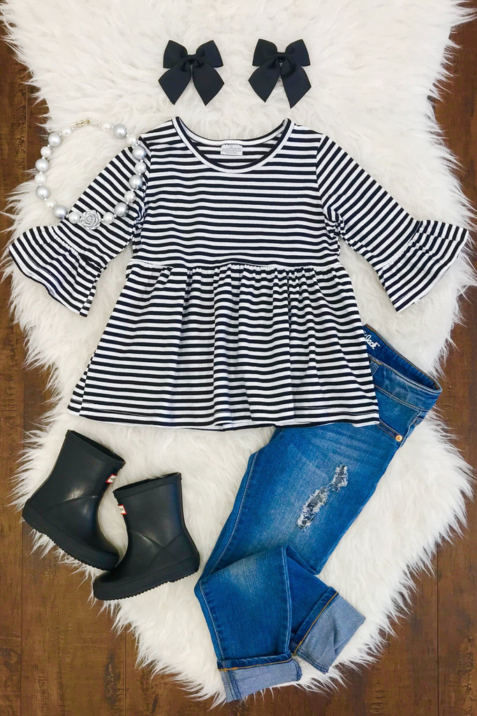 Black & White Stripe Peplum Top