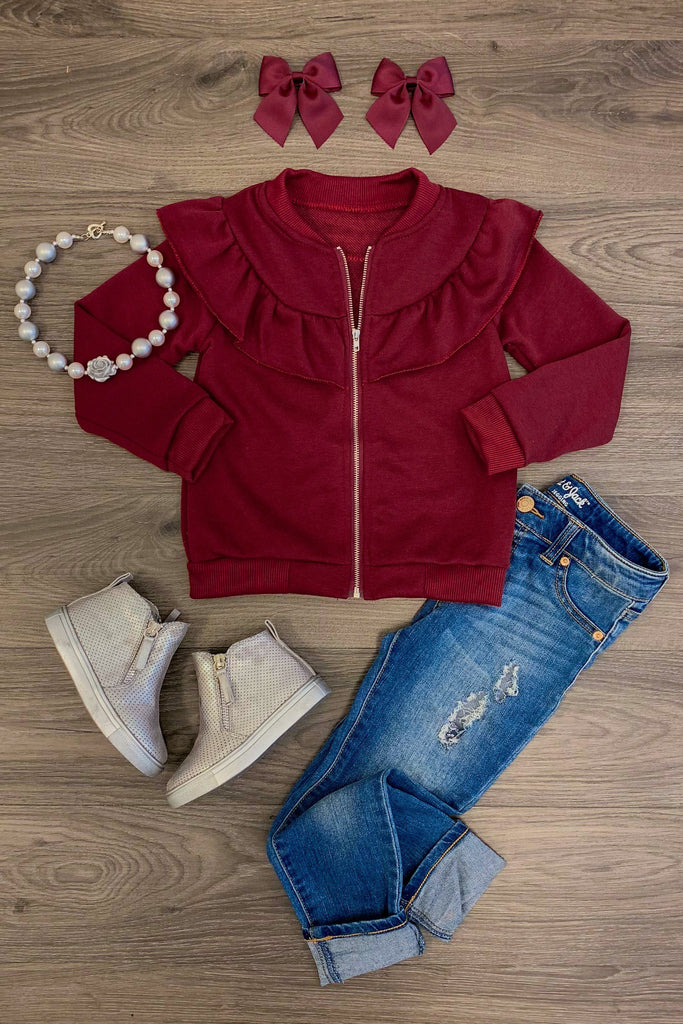 Burgundy Ruffle Sweatshirt Jacket