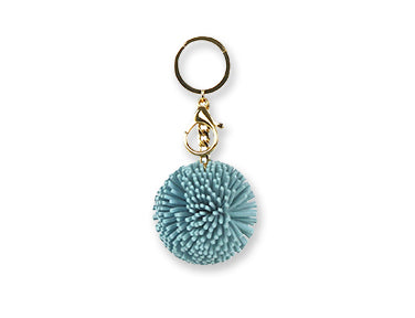 Vegan Leather Pom-Pom Keychain