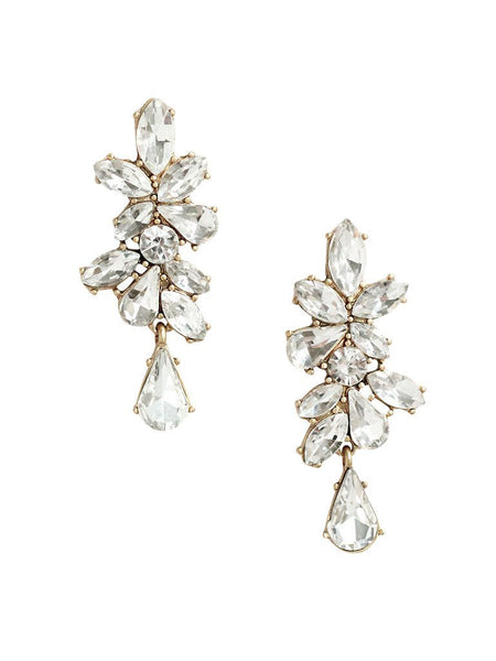 Cascading clear crystal elegant statement dangle earrings with vintage charm. Perfect for a night out or any special occasion. Especially a wedding.