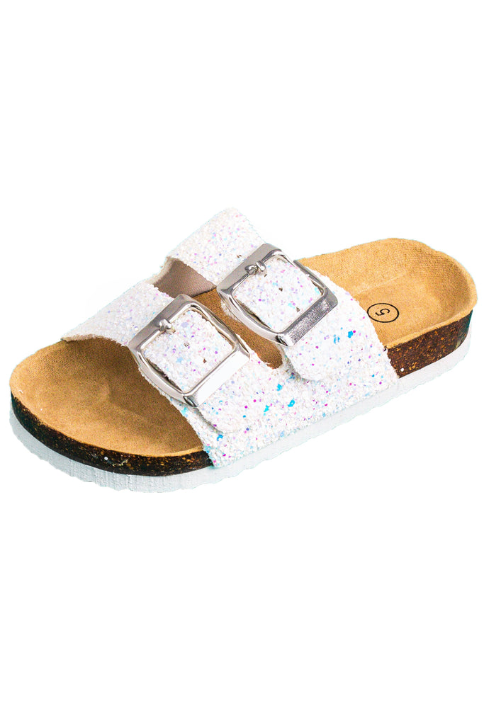 "Mom & Me White Sparkly ""Berkley"" Sandals"