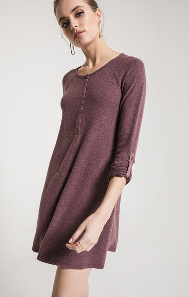 The Marled Henley Dress Heather Grey by ZSUPPLY