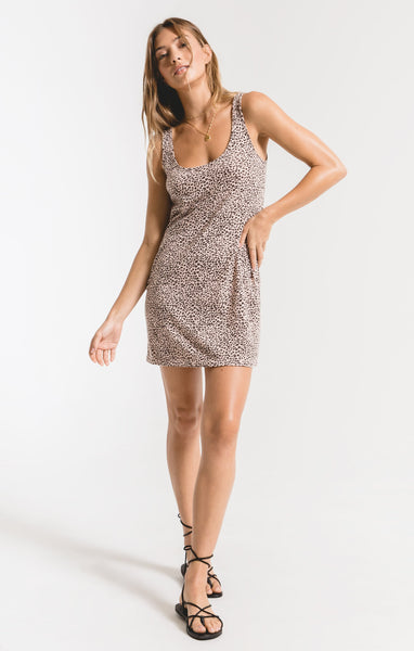 Pale Blush Mini Leopard Tank Dress by Z SUPPLY
