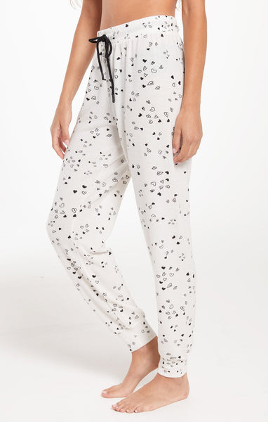 White & Black Love Notes Heart Jogger by Z SUPPLY