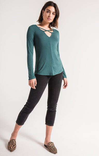 Cross Front Long Sleeve Tee by Z SUPPLY (more colors)