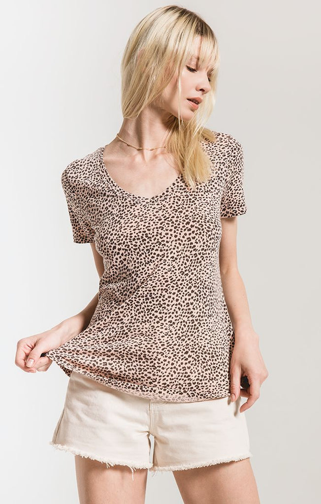 Pale Blush Mini Leopard V-Neck Tee by Z SUPPLY