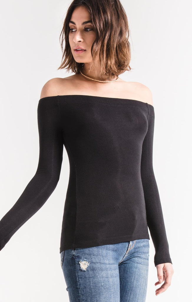 Long Sleeve Ribbed Off-Shoulder Top by Z SUPPLY