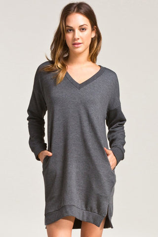 Charcoal V-Neck Sweatshirt Dress with Pockets
