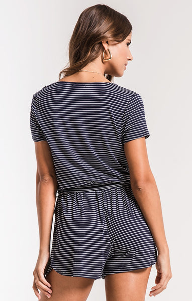 The Micro Navy Stripe Romper by Z Supply