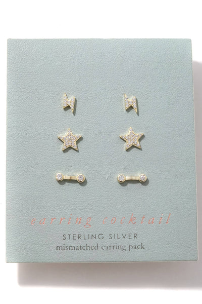 Mixed Sterling Silver Stud Earrings