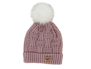Britt's Knits Plush Lined Cable Knit Hats with Pom (more colors)