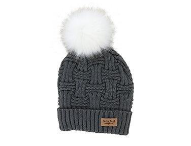 Plush Lined Cable Knit Pom-Pom Hat (more colors)