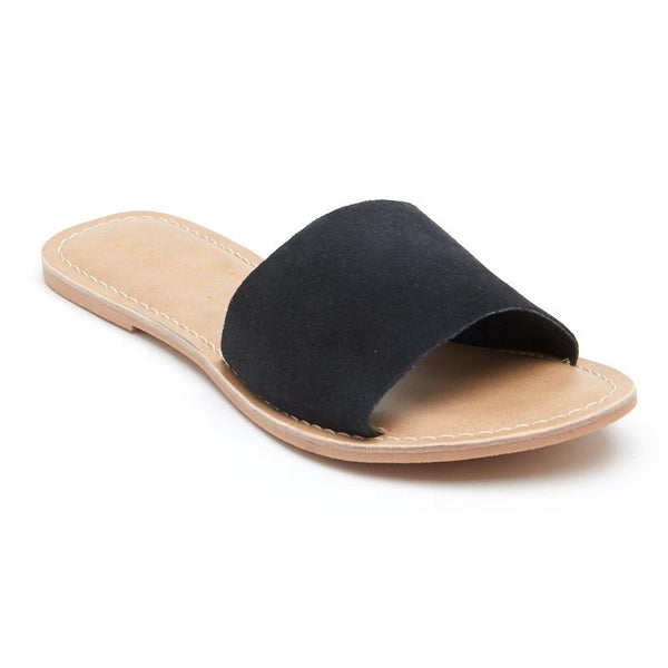 Cabana Black Suede Slide Sandals by Matisse Coconuts Collection