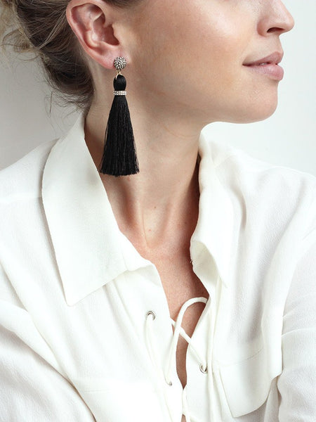 Black tassel statement earrings with crystal detail. Perfect for a night out or special occasion. Especially a wedding.