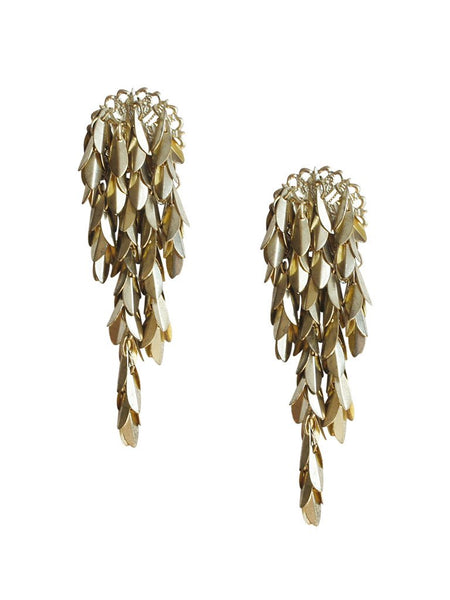 Cascading Gold Leaf Statement Earrings