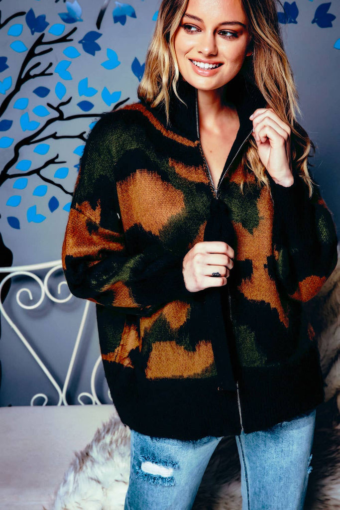 Camouflage High Neck Zip Up Cardigan Jacket