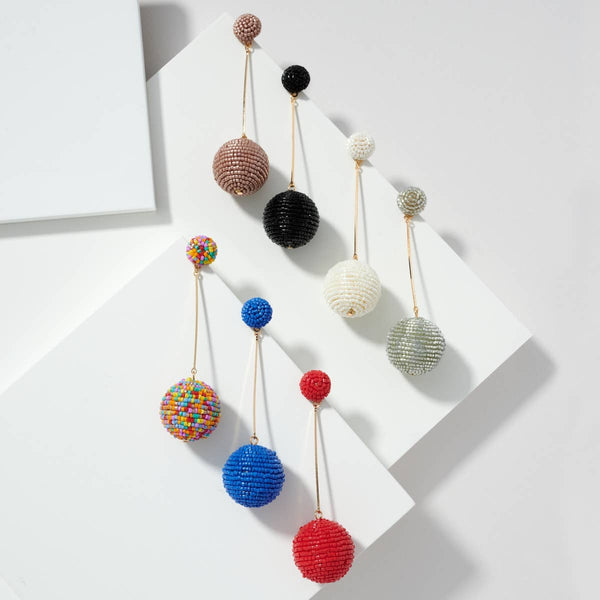 Seed Beaded Ball Drop Earrings (more colors)