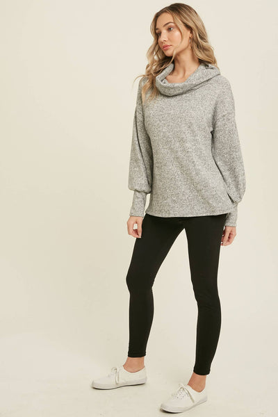 Heathered Cowl Neck Pullover Sweater Top