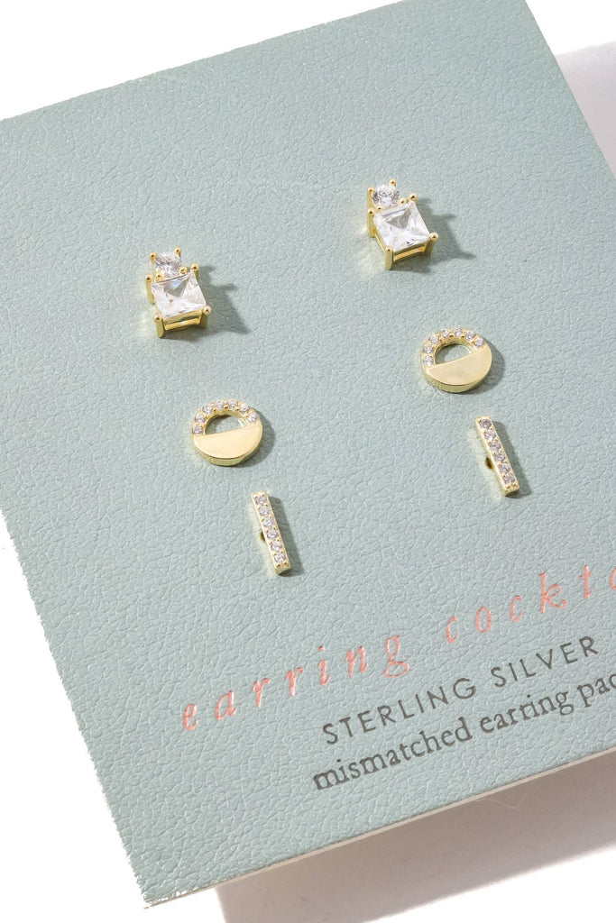 3 Style Sterling Silver Stud Earrings