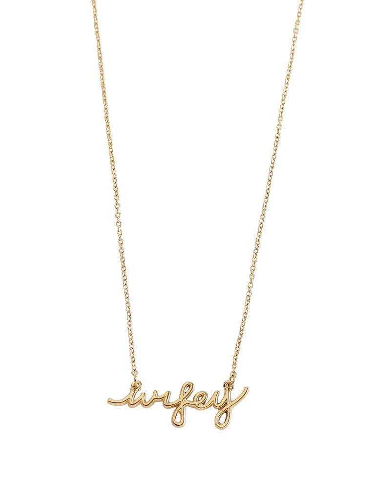 "Dainty gold ""Wifey"" necklace. Perfect gift for an engagement party, bridal shower, wedding, or anniversary."