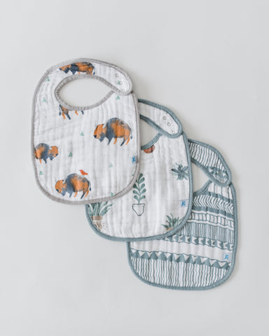 Little Unicorn - BUFFALO Cotton Muslin Classic Bib Set (3 pack)