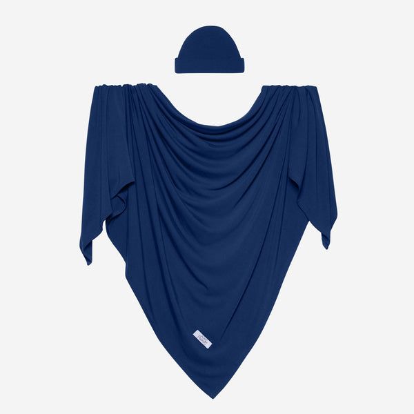 Posh Peanut - SAILOR BLUE Swaddle and Beanie Set