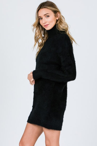 Soft Mohair Turtleneck Sweater Dress