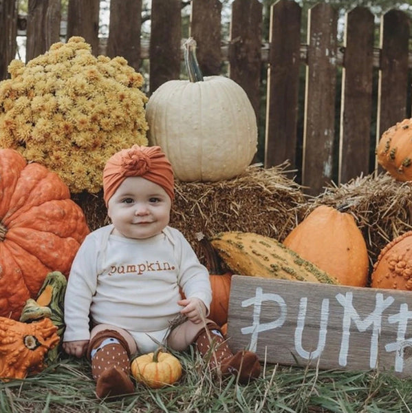 Pumpkin. Long Sleeve Onesie by Tenth & Pine
