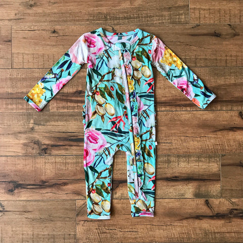 Posh Peanut - TUSCAN TEAL Ruffled Zippered Onesie