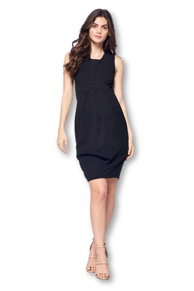 Front Pleated Knee Length Maternity Dress