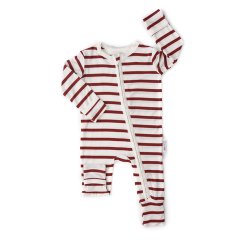 Maroon Stripe Zippered One Piece