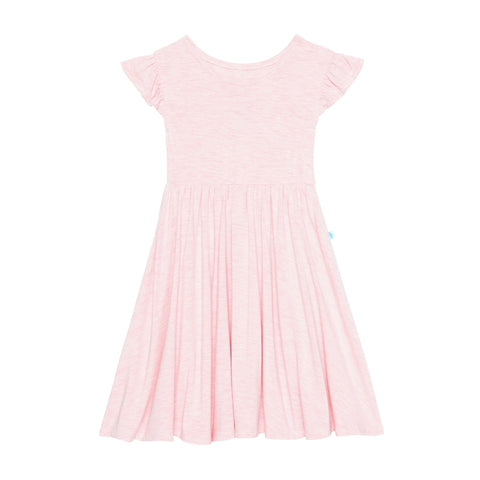 Posh Peanut - PINK HEATHER Ruffled Cap Sleeve Twirl Dress