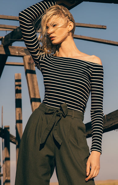 The Stripe Long Sleeve Off-Shoulder Top by Z SUPPLY