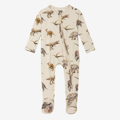 Posh Peanut - VINTAGE DINO Footie Zippered Onesie