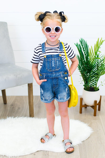 Mini Me Denim Distressed Shortalls