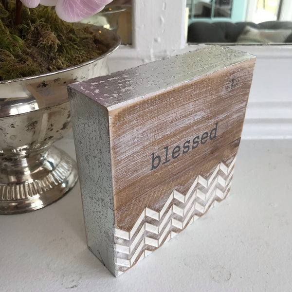Blessed Wood/Metallic Plaque