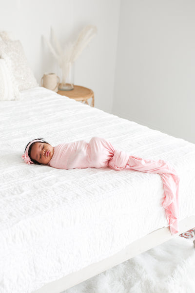 Posh Peanut - PINK HEATHER Swaddle and Headband Set